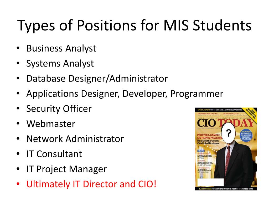 Types of Positions for MIS Students