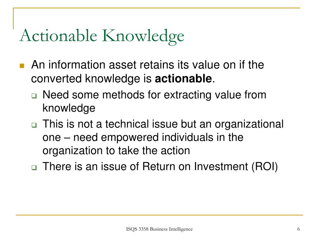 Actionable Knowledge