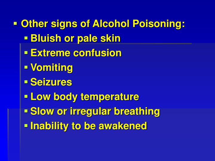 Other signs of Alcohol Poisoning: