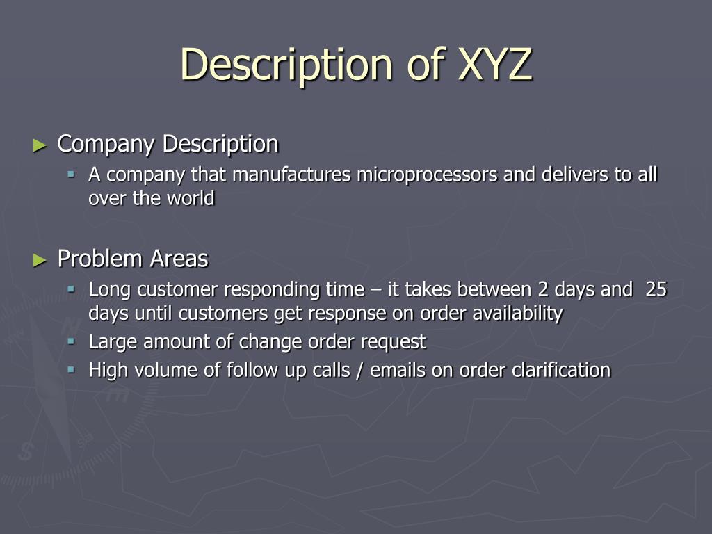 Description of XYZ
