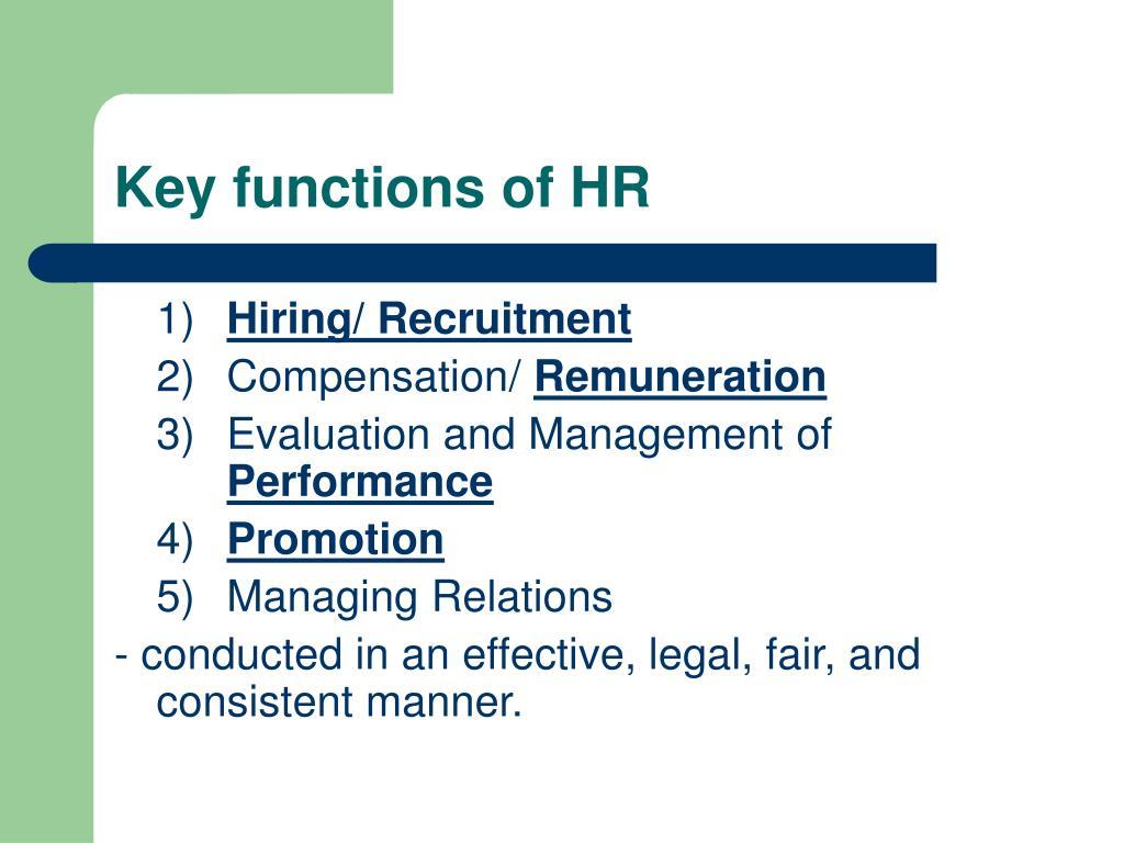 Key functions of HR