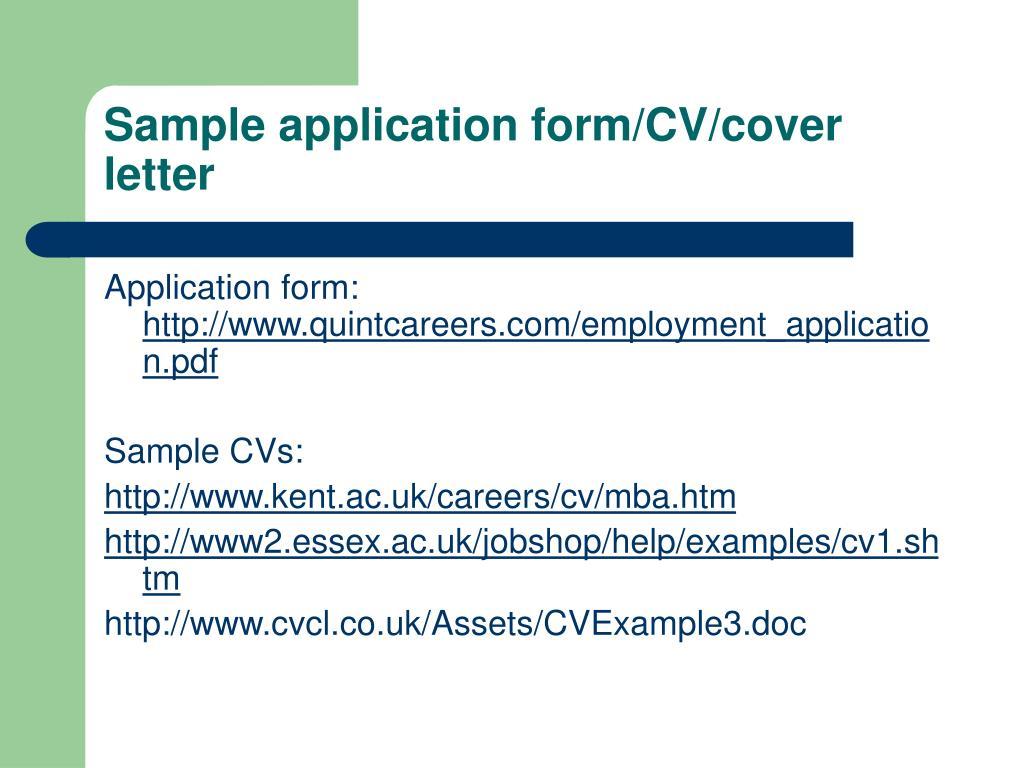 Sample application form/CV/cover letter