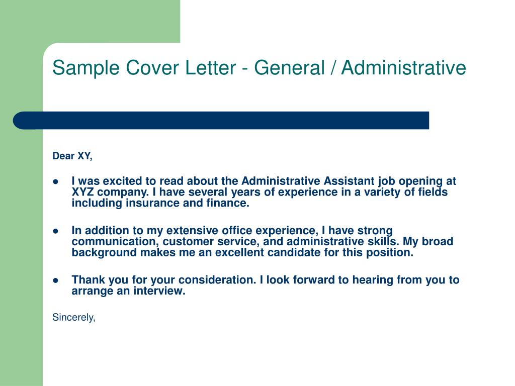 Sample Cover Letter - General / Administrative