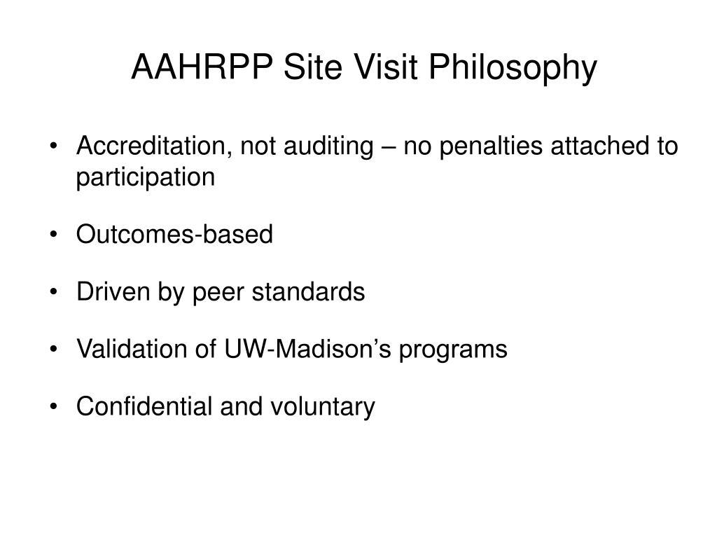 AAHRPP Site Visit Philosophy