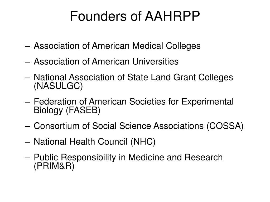 Founders of AAHRPP