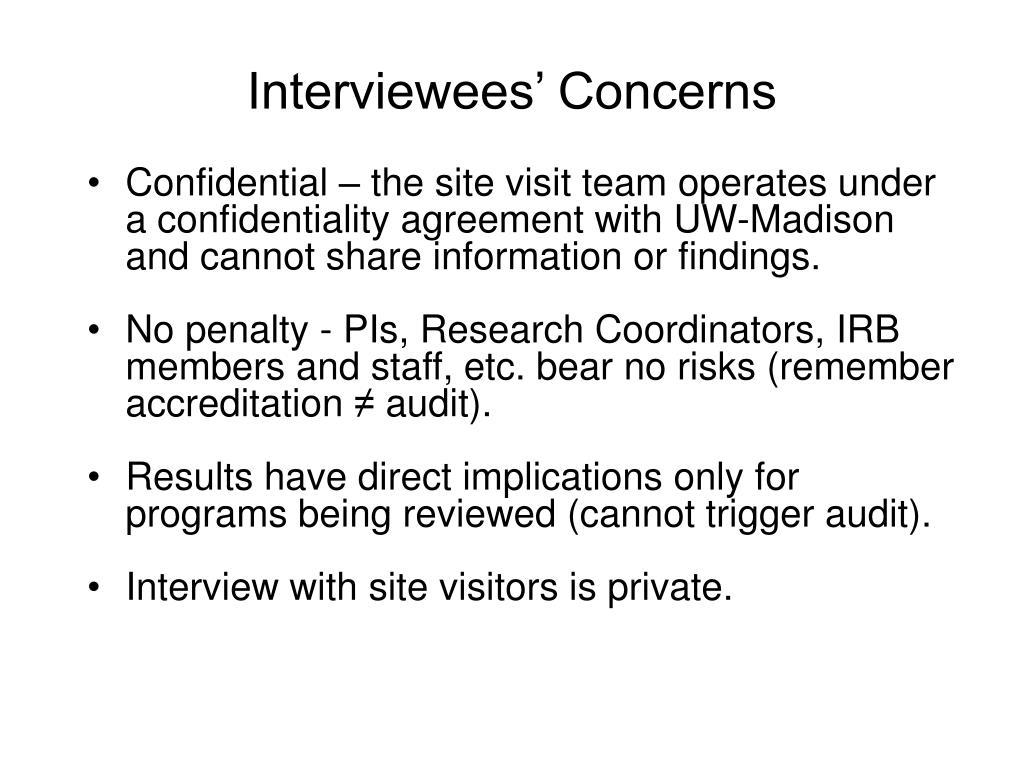 Interviewees' Concerns