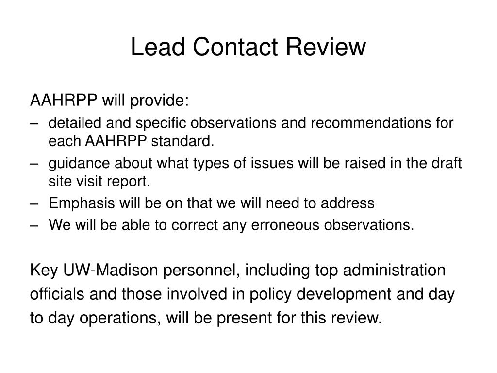 Lead Contact Review