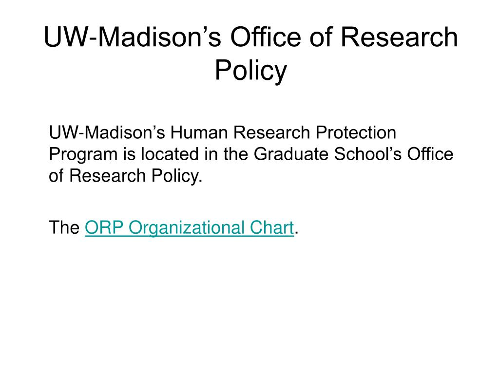 UW-Madison's Office of Research Policy