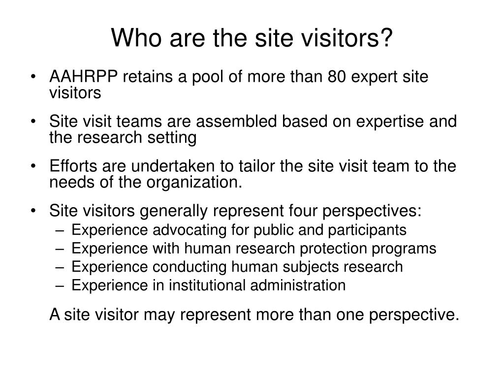 Who are the site visitors?