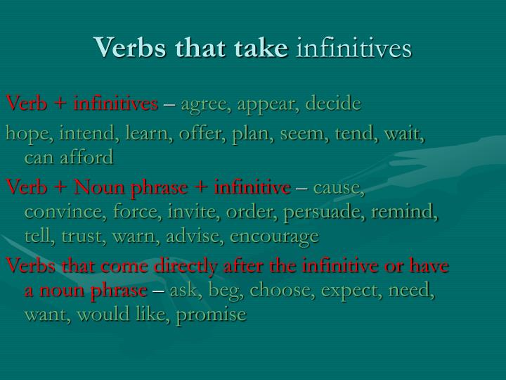 Verb + infinitives