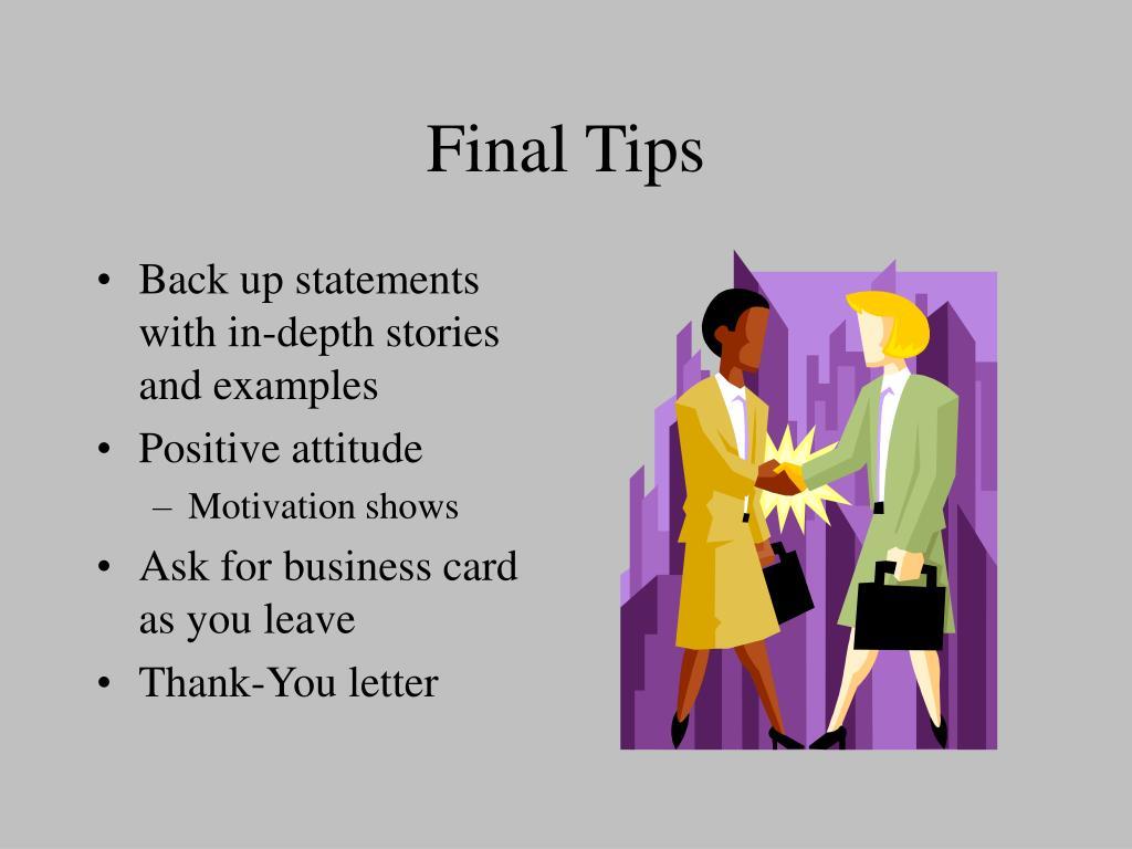 Final Tips