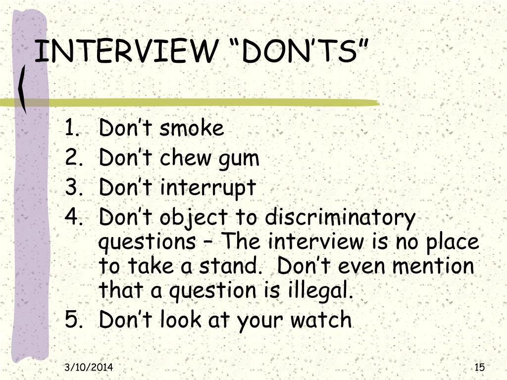 "INTERVIEW ""DON'TS"""