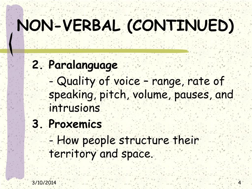NON-VERBAL (CONTINUED)