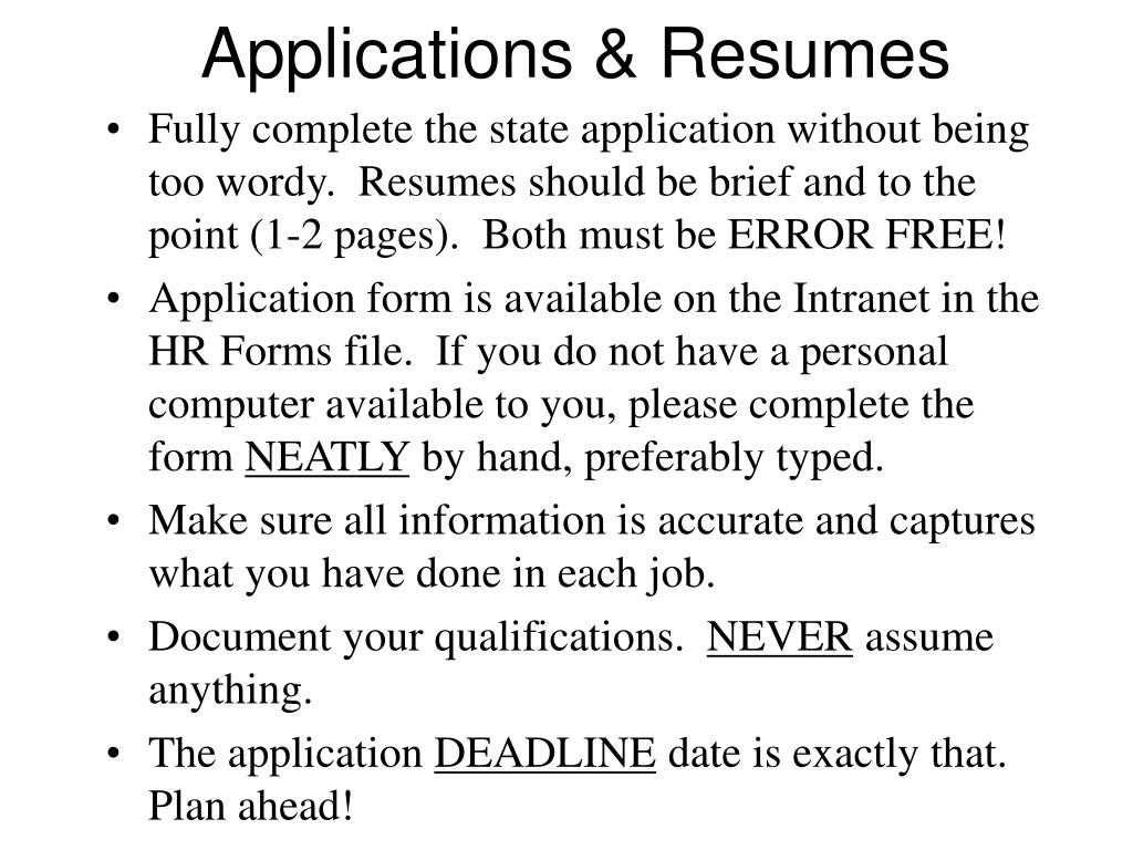 Applications & Resumes