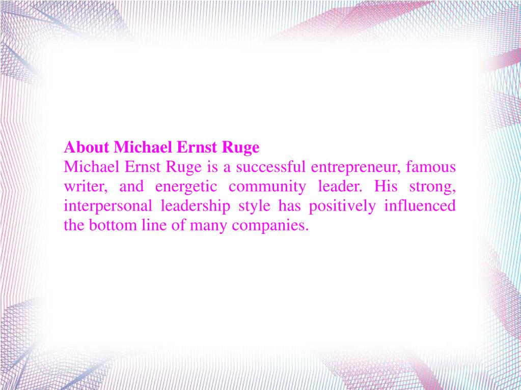 About Michael Ernst Ruge