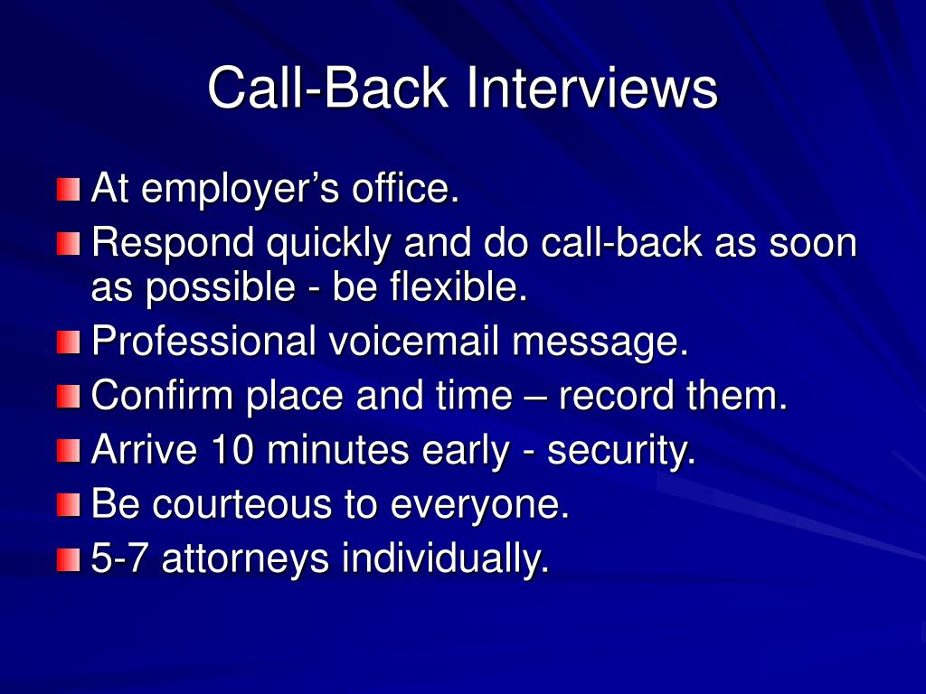 Call-Back Interviews