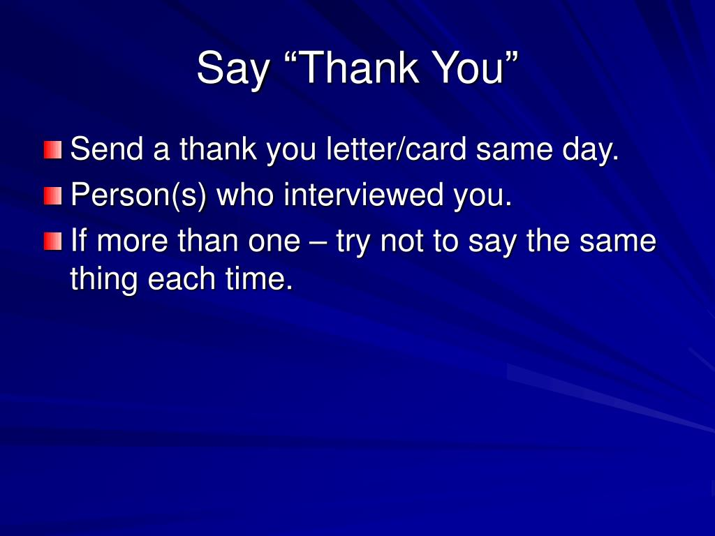 "Say ""Thank You"""