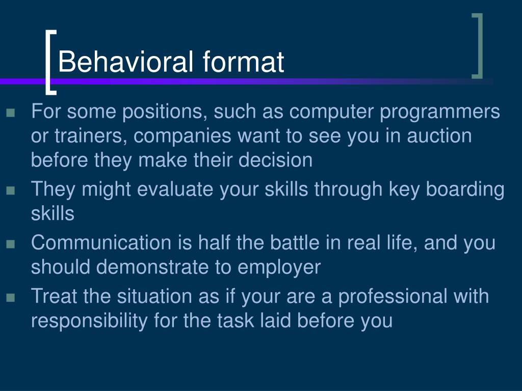 Behavioral format