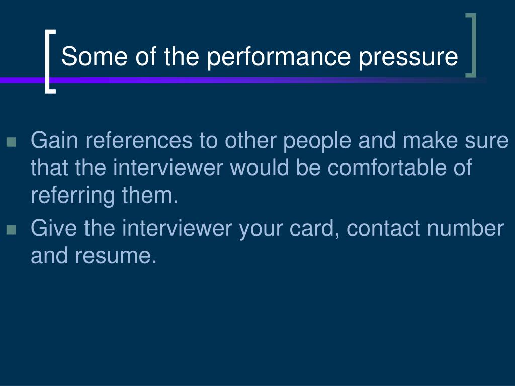 Some of the performance pressure