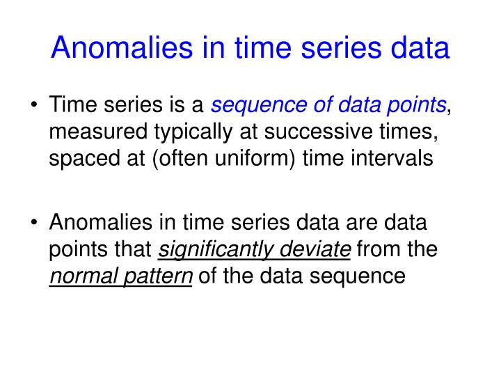 Anomalies in time series data