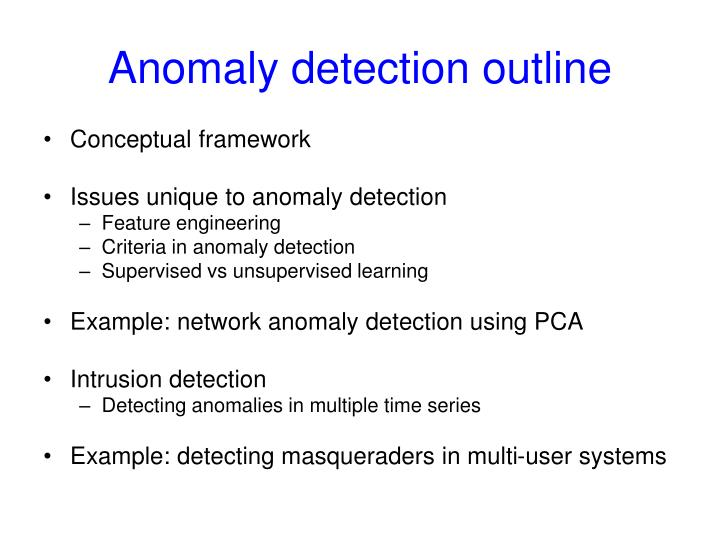 Anomaly detection outline
