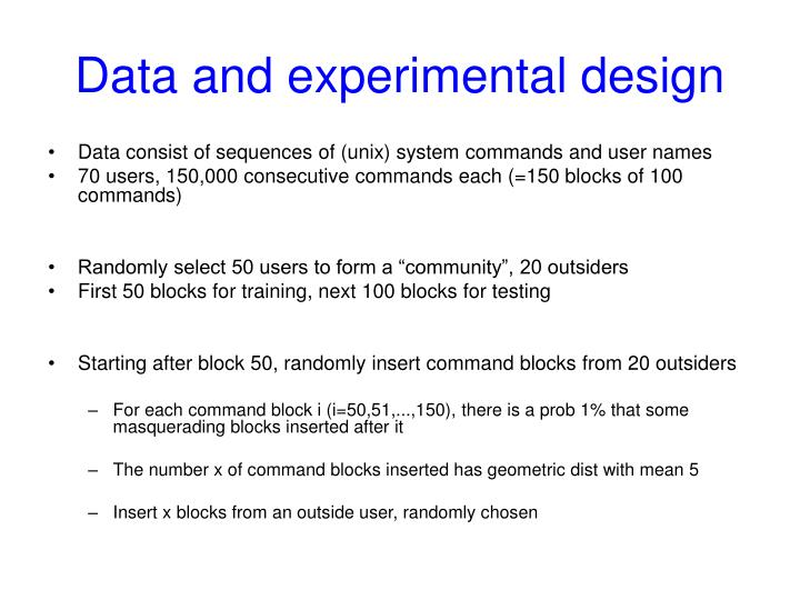 Data and experimental design