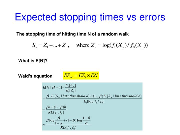 Expected stopping times vs errors
