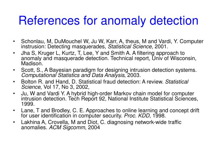 References for anomaly detection