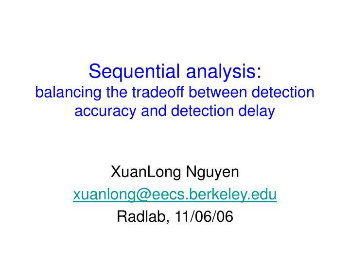 Sequential analysis:
