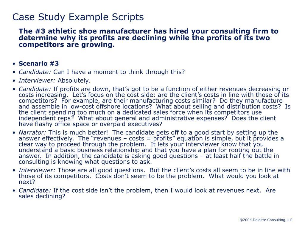 Case Study Example Scripts