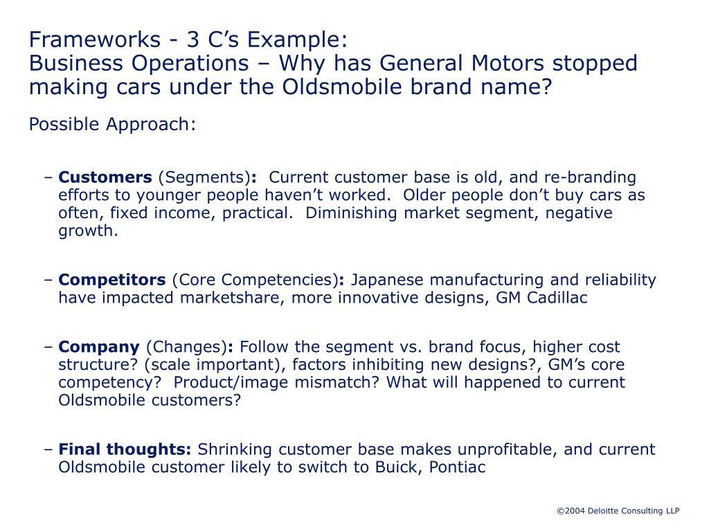 Frameworks - 3 C's Example: