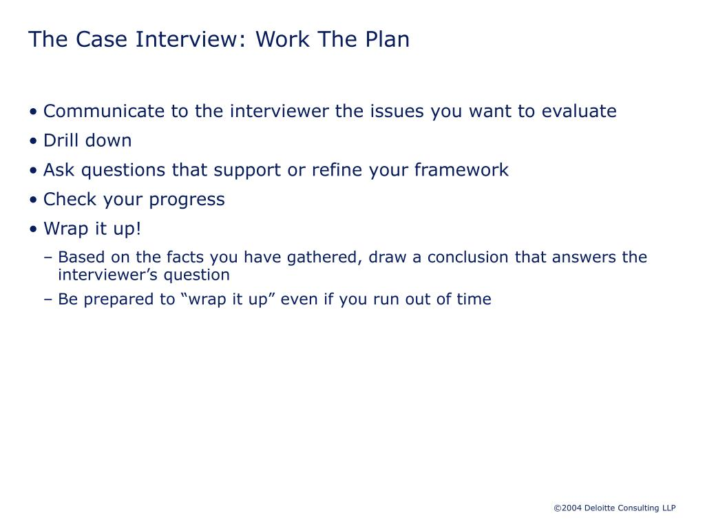 The Case Interview: Work The Plan