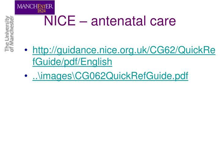NICE – antenatal care