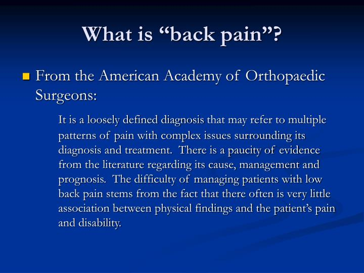 "What is ""back pain""?"