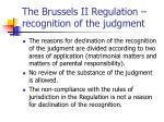 the brussels ii regulation recognition of the judgment