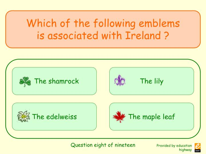 Question eight of nineteen