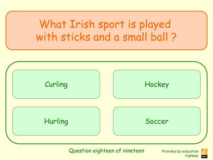 Question eighteen of nineteen