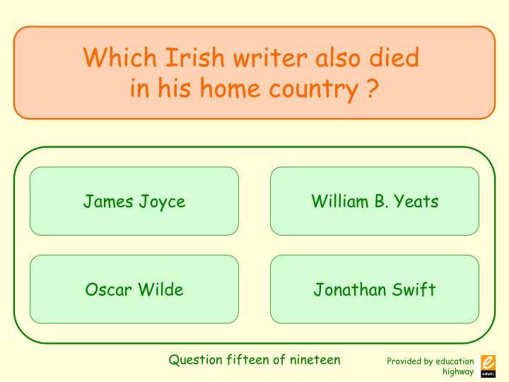 Question fifteen of nineteen