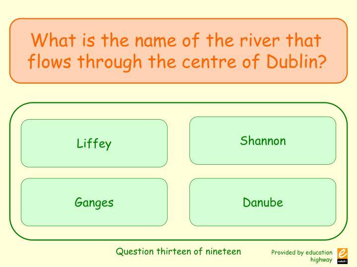 Question thirteen of nineteen