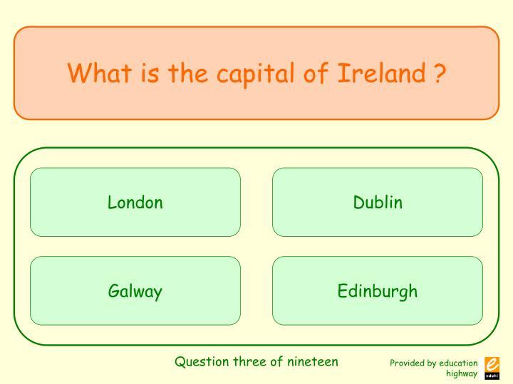 Question three of nineteen
