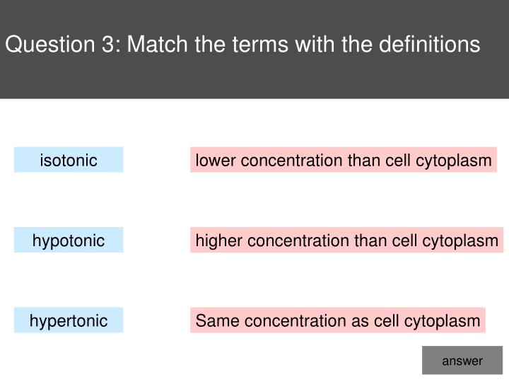 Question 3: Match the terms with the definitions