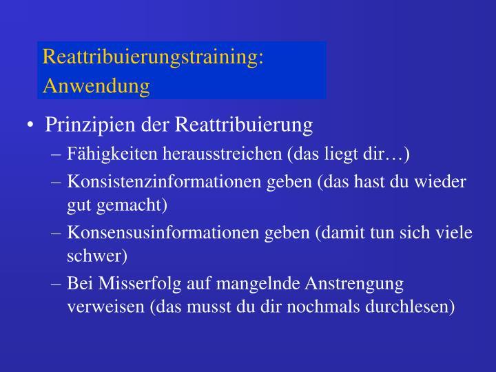Reattribuierungstraining: Anwendung