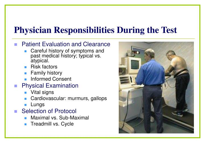Physician Responsibilities During the Test