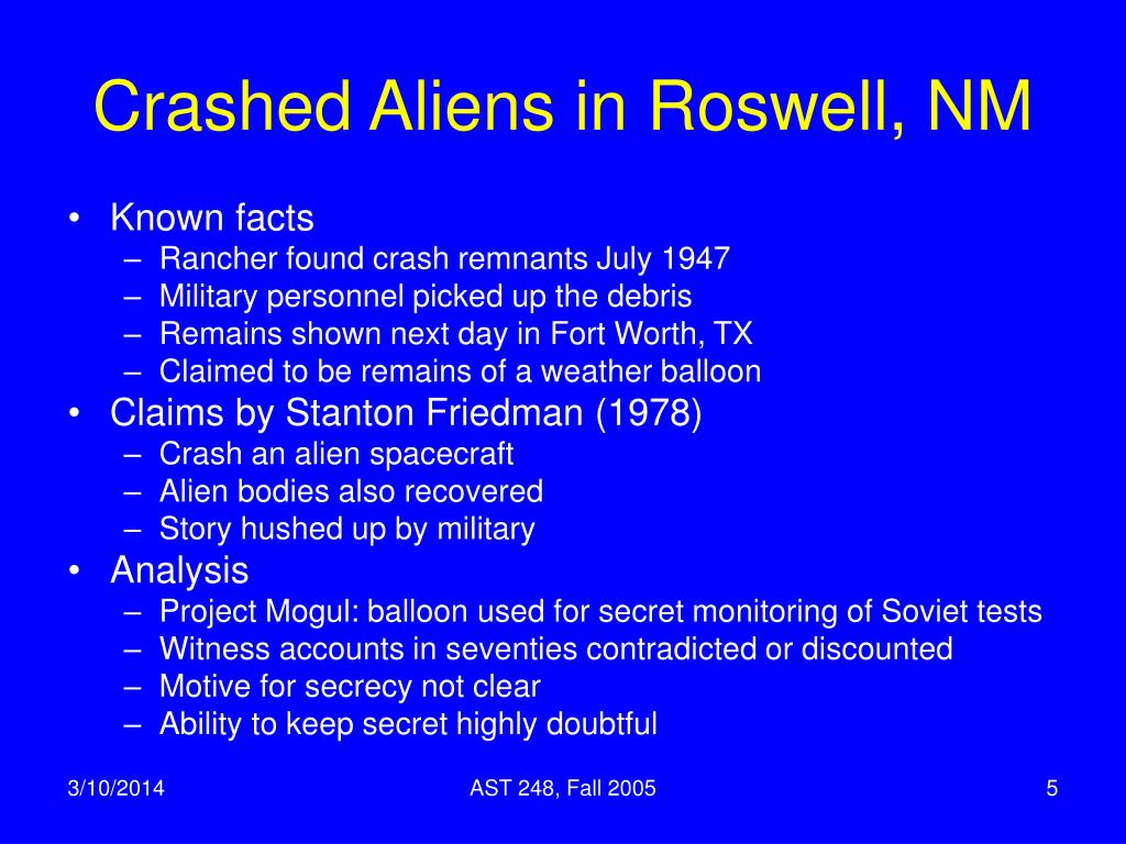 Crashed Aliens in Roswell, NM