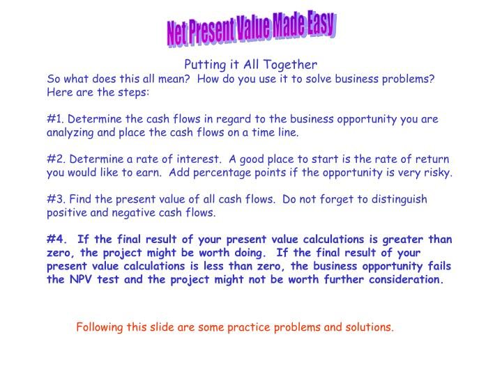 Net Present Value Made Easy