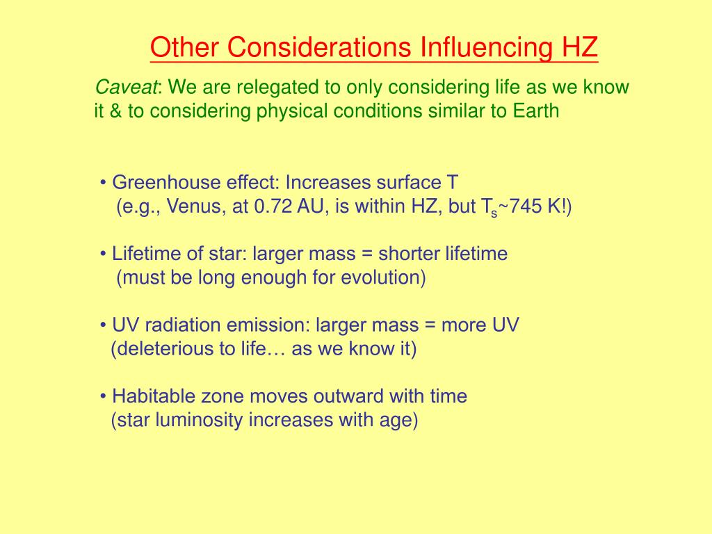 Other Considerations Influencing HZ