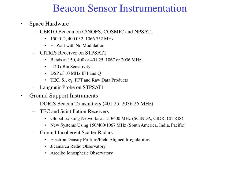 Beacon Sensor Instrumentation