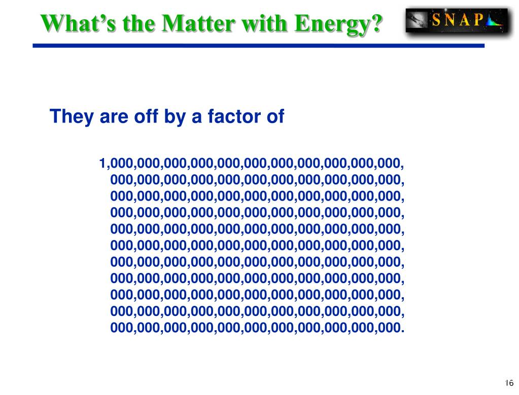 What's the Matter with Energy?