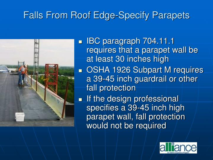 Falls From Roof Edge-Specify Parapets