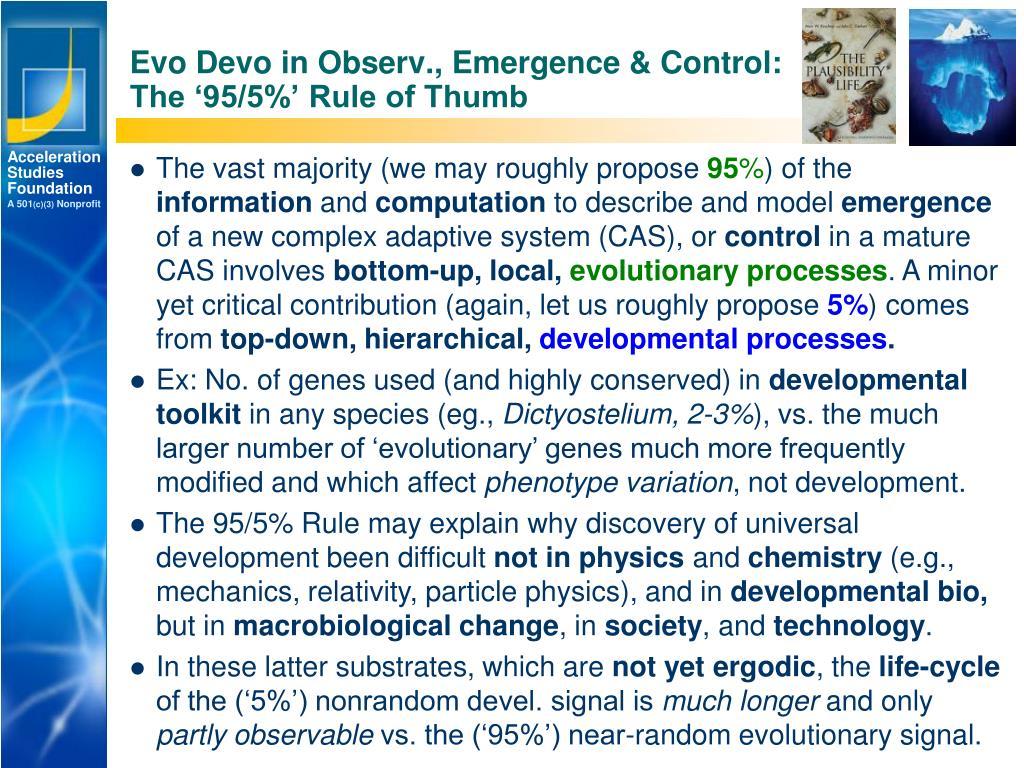 Evo Devo in Observ., Emergence & Control: